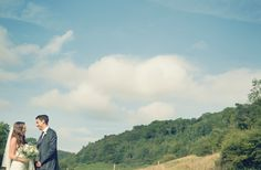 Bride & Groom in a valley, blue skies and clouds, Hackness, Scarborough, North Yorkshire. www.njphotographic.co.uk