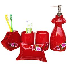Zhihang Red Resin 5Piece Bathroom Accessories Set With Printing Pink Rose