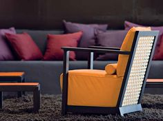 Fabric armchair with armrests OTTO 111 By Gervasoni design Paola Navone Outdoor Chairs, Outdoor Furniture, Outdoor Decor, Paola Navone, Yellow Home Decor, Fabric Armchairs, Interior Paint Colors, Cushions, Pillows