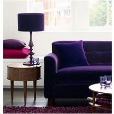 Aubergine Turned Wood Table Lamp with Velvet Shade