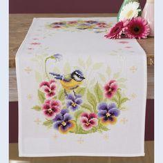 Birds and Violets Table Runner - kruissteekpakket met telpatroon Vervaco