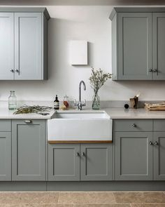 Clients of love a well appointed utility room. The designer's delightful country kitchens often feature an area customised to… Sage Kitchen, Rustic Kitchen, New Kitchen, Kitchen Decor, Kitchen Design, Kitchen Black, Kitchen Cupboard Colours, Green Kitchen Cabinets, Cupboard Design