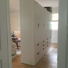 I attached 4 STUVA storage cabinets together and then added plywood and plaster to the back to make a free standing room divider. ~ Jeanie The post Free Standing Stuva Room Divider appeared first on