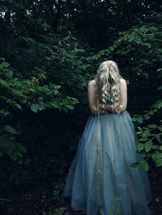 #aliceinwonderland blonde girl lost in forest, baby blue ethereal chiffon gown, green trees