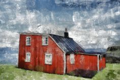 Stretched Canvas Print of Red House Flatey by ArtbyOlafur on Etsy, $85.00