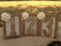 Rustic Wedding Table Numbers @Alyssa Gay