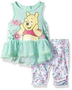 Disney Girls' 2 Piece Winnie the Pooh Crinkle Chiffon Capri Legging Set, Mint Green, 0/3m