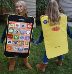 yellow cell phone costume with wallpaper