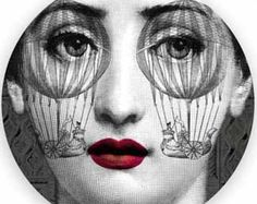 Artist Fornassetti was the creator of the sketches he did of Lina's face. We can see his artwork of her on plates , mugs graphic wall art etc etc Piero Fornasetti, Fornasetti Wallpaper, Jazz Art, Italian Painters, Foto Art, Art Academy, Art Graphique, Ceramic Painting, Illustrations