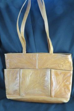 Tooled Leather Tote Bag Purse Western Style Zipper Pockets Laptop Notebook Brief #LeathersinLeather #Tote