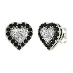 Round Black Diamond Earrings in 14k White Gold with SI Diamond,VS Diamond