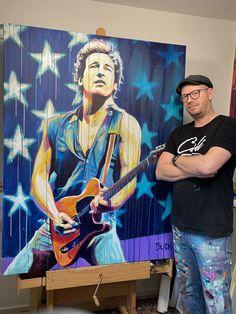 Bruce Springsteen farverig portræt maleri og kunstner Allan Buch Malerierne - Allan Buch Malerier