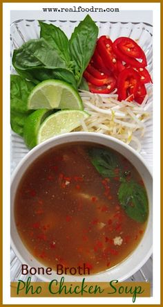 Bone Broth Pho Chicken Soup. A very healthy soup made even better. I could honestly eat this soup every single day! So many wonderful flavors and so satisfying! realfoodrn.com #bonebroth #pho
