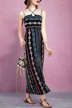 Floral Print Cross Halter Sleeveless Dress