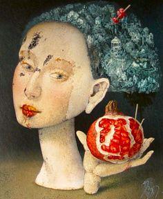 Pomegranate~ Art by Janda Zdenek Pomegranate Art, Sufi Saints, Spiritual Music, Ancient Symbols, Divine Feminine, Memento Mori, Persephone, Fashion Art, Contemporary Art