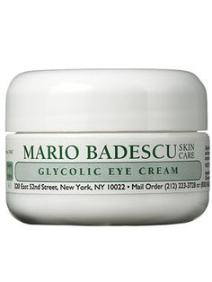 Mario Badescu Glycolic Eye Cream. It feels ever so slightly greasy when first rubbed on, but it dries quickly and leaves skin hydrated and velvety.