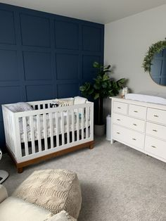 Modern Neutral Nursery Modern Neutral Nursery - navy and white nursery with greenery / houseplants a Baby Boy Room Decor, Baby Room Design, Baby Bedroom, Baby Boy Rooms, Nursery Room, Bedroom Green, Bedroom Kids, Nursery Decor, Navy Blue Nursery