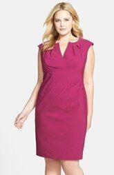 Adrianna Papell Pleat Neck Sheath Dress (Plus Size)