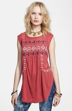 Free People 'Reckless Abandon' Embroidered Tunic Top | Nordstrom