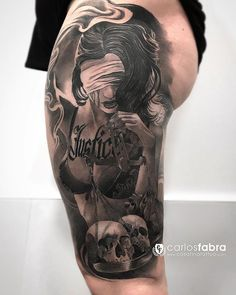 La justicia ciega de una madre ante el amor de sus hijos. Otra pieza más para nuestra amiga Marta. Gracias por confiar tanto en mi y en @cosafina_tattoo  Con @killerinktattoo @radiantcolorsink @skin2paper @aloetattoo @cheyenne_tattooequipment #tattoo #tattooed #tattooartist #girl #justice #love #carlosfabra #cosafinatattoo Gangsta Tattoos, Weird Tattoos, Face Tattoos, Skull Tattoos, Sexy Tattoos, Tattoos For Guys, Cool Tattoos, War Tattoo, Libra Tattoo