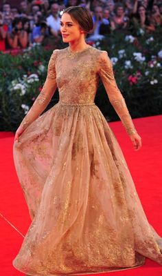 Keira knightly...evening, gown, dress, long sleeve, high neck, metallic, waist seam, full skirt, neutral, nude, gold, organza