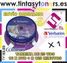 TARRINA 25 DISCOS VERBATIM PRINTABLE DVD+R 16 X 4700 MB 43539 4.7 GB IMPRIMABLE
