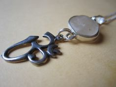 Sterling Silver 925 Ohm Om Aum Sea Glass Sea Glass Charm Necklace OOAK Boxed £22.95