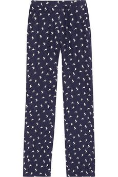 ++ mitrana bird print silk pants