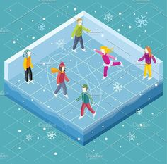 Ice Rink with People Isometric Style. $5.00