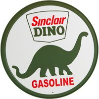 Sinclair Dino Gasoline Tin Sign  my grandparents ran a little cafe/truck stop it was a Sinclair station.  Grandpa H gave me dino soap, I loved it