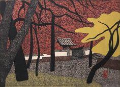 302: Kiyoshi Saito Autumn in Kyoto color woodcut : Lot 302