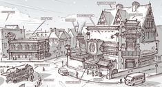 Town Design - Tearoom, music pub and vending van by alantsuei on DeviantArt