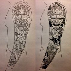 Black Ink Samurai Head With Koi Fish And Flowers Tattoo Design For Full Sleeve