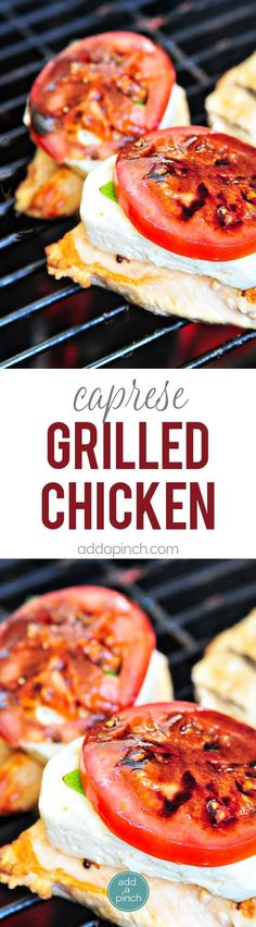 Caprese Grilled Chicken with Balsamic Reduction Recipe - A favorite caprese salad takes center stage with this delicious grilled chicken! // addapinch.com