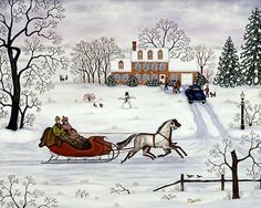 Victorian Folk Art House - Christmas Sleigh Currier And Ives Art ~ Delivering Gifts ~ Linda Mears