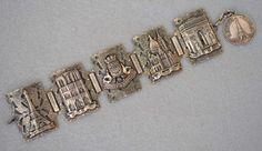 Sterling Silver Paris Souvenir Panel Bracelet Vintage  #SterlingSilver #ParisSouvenirPanelBracelet
