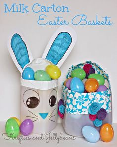 Fireflies and Jellybeans: DIY Milk Carton Easter Baskets (15 minute craft!)