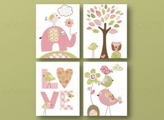 Girl Nursery Art Print nursery art baby children wall art kids art pink green elephant Birds heart tree love Set of 4 8x10 prints on Etsy, $56.00