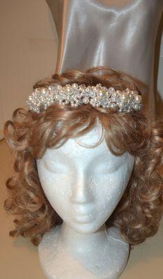 Tiara Pearl tiara bridal headband wedding head by creatingwithni