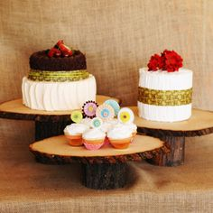 roxyheartvintage.com  Rustic Wood Cake stands available with your choice of engraving. Love the personalization!.
