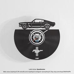 Ford Mustang Wanduhr aus Upcycled Vinyl-Schallplatte von CROPSHOPlt
