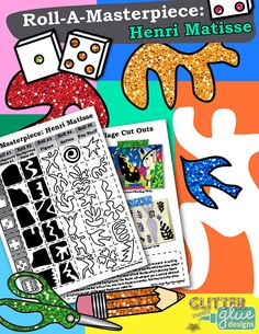 Henri Matisse Art History Game: Create a one day art project inspired by Matisse by simply rolling the die to collect the motifs to be used. Step-by-step pictorial directions are given   Glitter Meets Glue Designs