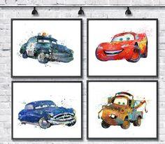 Set impresión de acuarela de McQueen Disney arte Pixar arte