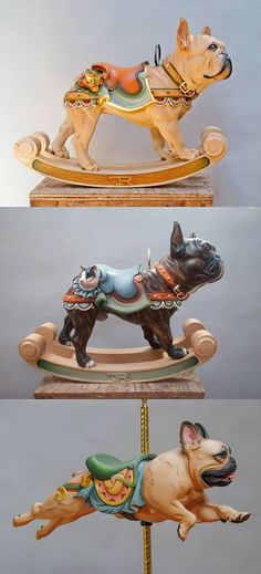 French Bulldog Carousel Sculptures, from Facebook