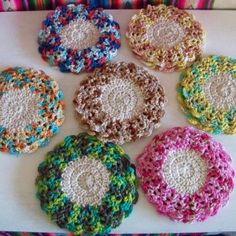 Posavasos circulares en crochet