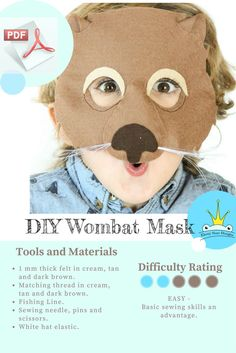 Diy animal costume diy do it yourself australia day animal masks wombat mask pattern digital sewing pattern solutioingenieria Images