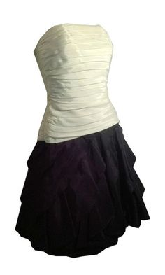 Classic Black and White Strapless Party Dress circa 1980s by Tadashi - Dorothea's Closet Vintage