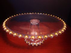Candlewick Gold Beads Points Pedestal Cake Stand Plate by Walther-Glas of German