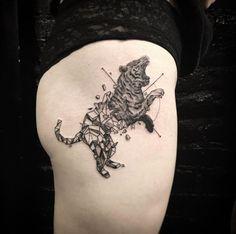 Half geometric tiger tattoo by OK