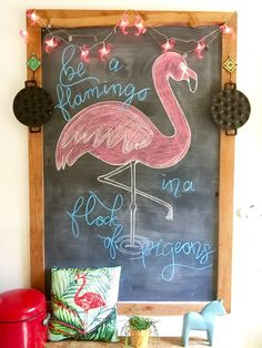 My kitchen chalkboard. Took me a while to find new inspiration #flamingo #summer